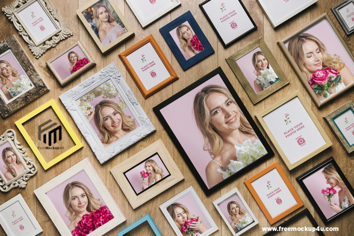 Flat Lay Different Shaped Photo Frames