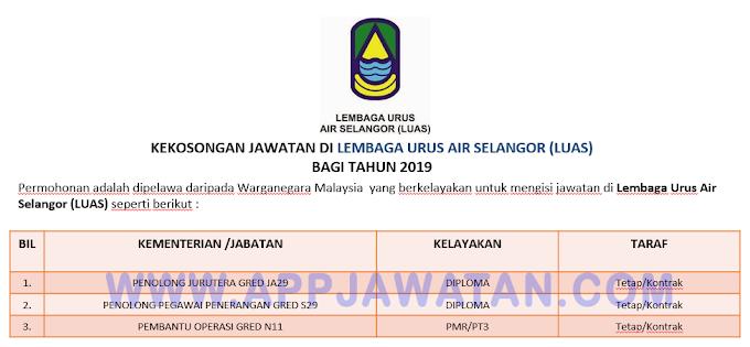 Jawatan Kosong Terkini di Lembaga Urus Air Selangor (LUAS).