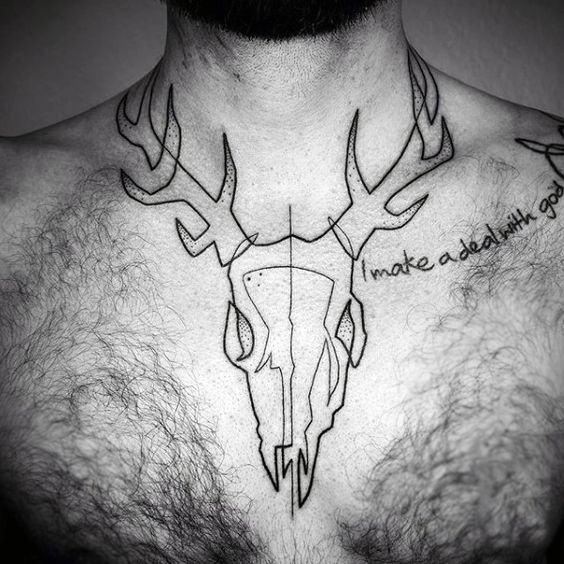 Line Art Tattoo on chest