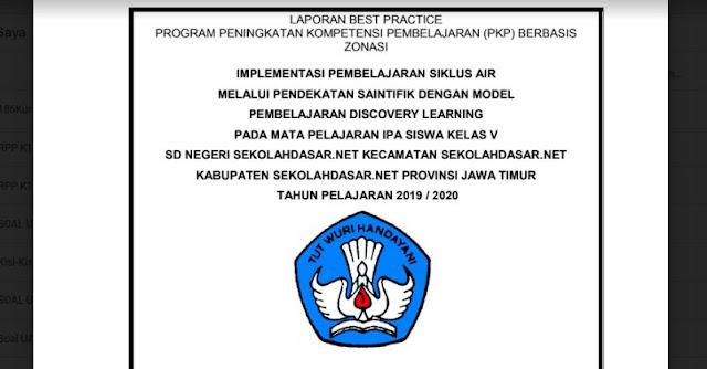 Contoh Laporan Best Practice PKP Mapel IPA Jenjang SD
