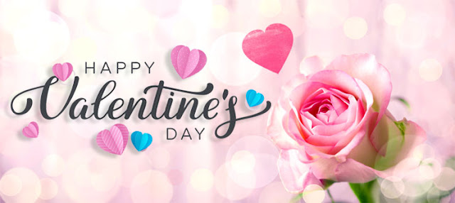 Valentine's Day pink rose and love hearts Image
