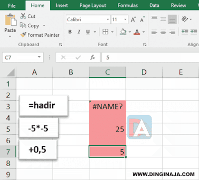 Cara Menulis Tanda = + - di Excel
