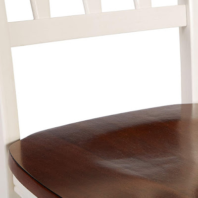 Cottage White Dining Chair with Warm Wood Seat