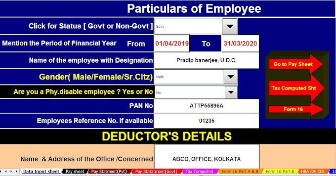 Download Automated All in One TDS on Salary Govt & Non-Govt  Employees for the F.Y. 2019-20 With Automated Income Tax Arrears Relief Calculator U/s 89(1) with Form 10E for F.Y. 2019-20