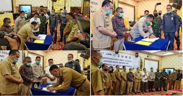 Cegah Karlahut Diwilayah Kepulauan Meranti, Bupati Irwan Teken MoU Program Desa Bebas Api Bersama PT. RAPP