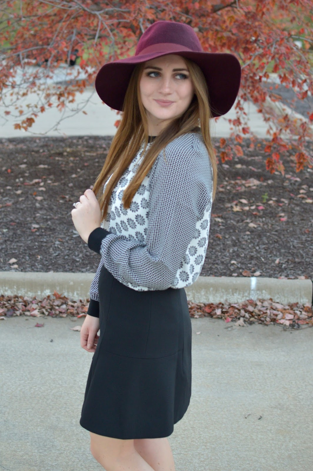 burgundy floppy hat outfit ideas