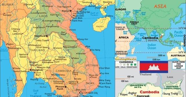 Gambar Negara Kamboja Peta Negara Kamboja Lengkap Dengan Kota Sumber Daya Alam Batas Wilayah Dan Keterangan Gambar Lainnya Geologinesia