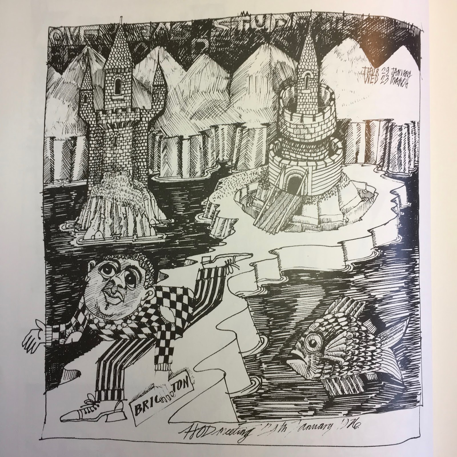 John Vernon Lord Man Flees From An Island A Doodle Carried Out