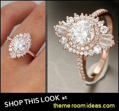 Moissanite engagement ring vintage engagement ring rose gold baguette cut Diamond  women  wedding gifts