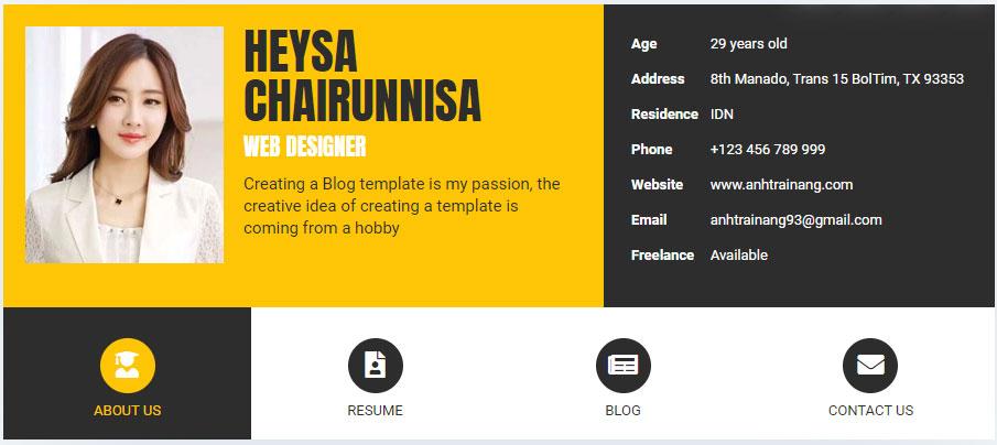 Share Blogger Template giới thiệu bản thân có tích hợp bài viết blogspot