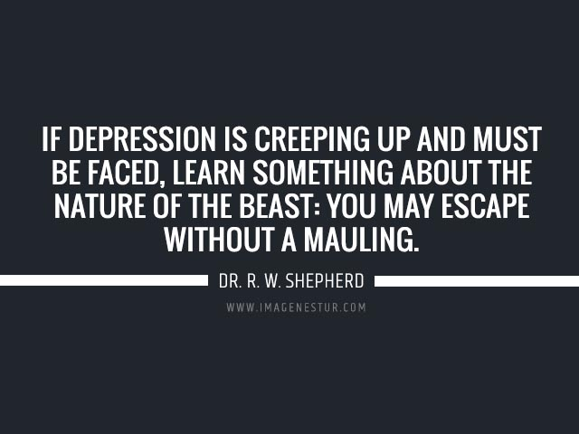 Depression quotes If depression is creeping up and must be faced, learn something about the nature of the beast: You may escape without a mauling.