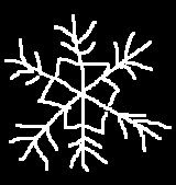 Dibujo naïf de una estrella del frío. Trazos blancos sobre fondo negro. ©Selene Garrido Guil