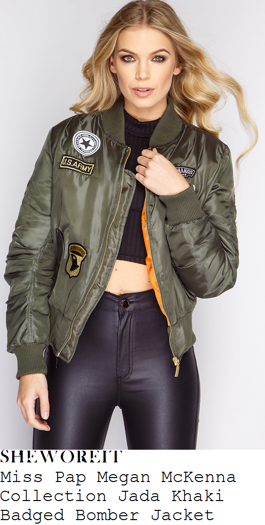 megan-mckenna-miss-pap-megan-mckenna-collection-jada-khaki-badged-bomber-jacket