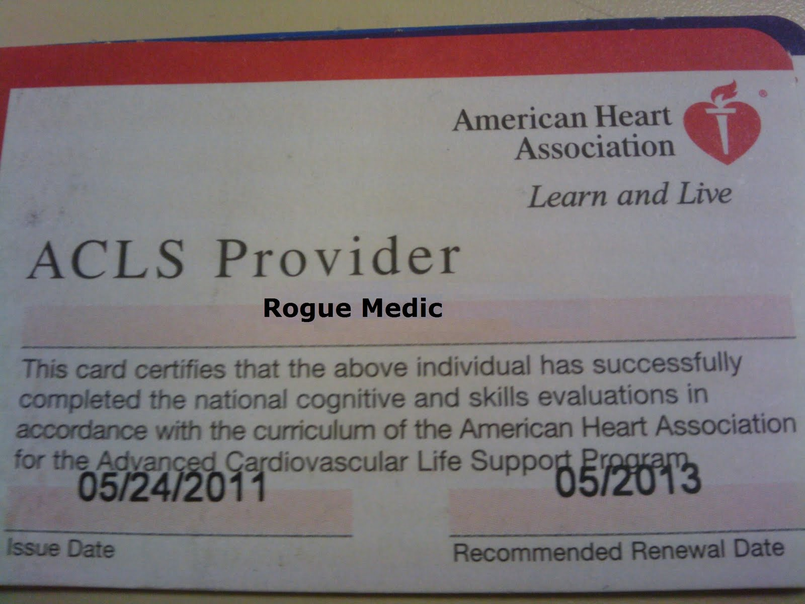 acls certification card care successfully completed national heart association american conrad murray proper trial standard support advanced cardiac accordance certifies