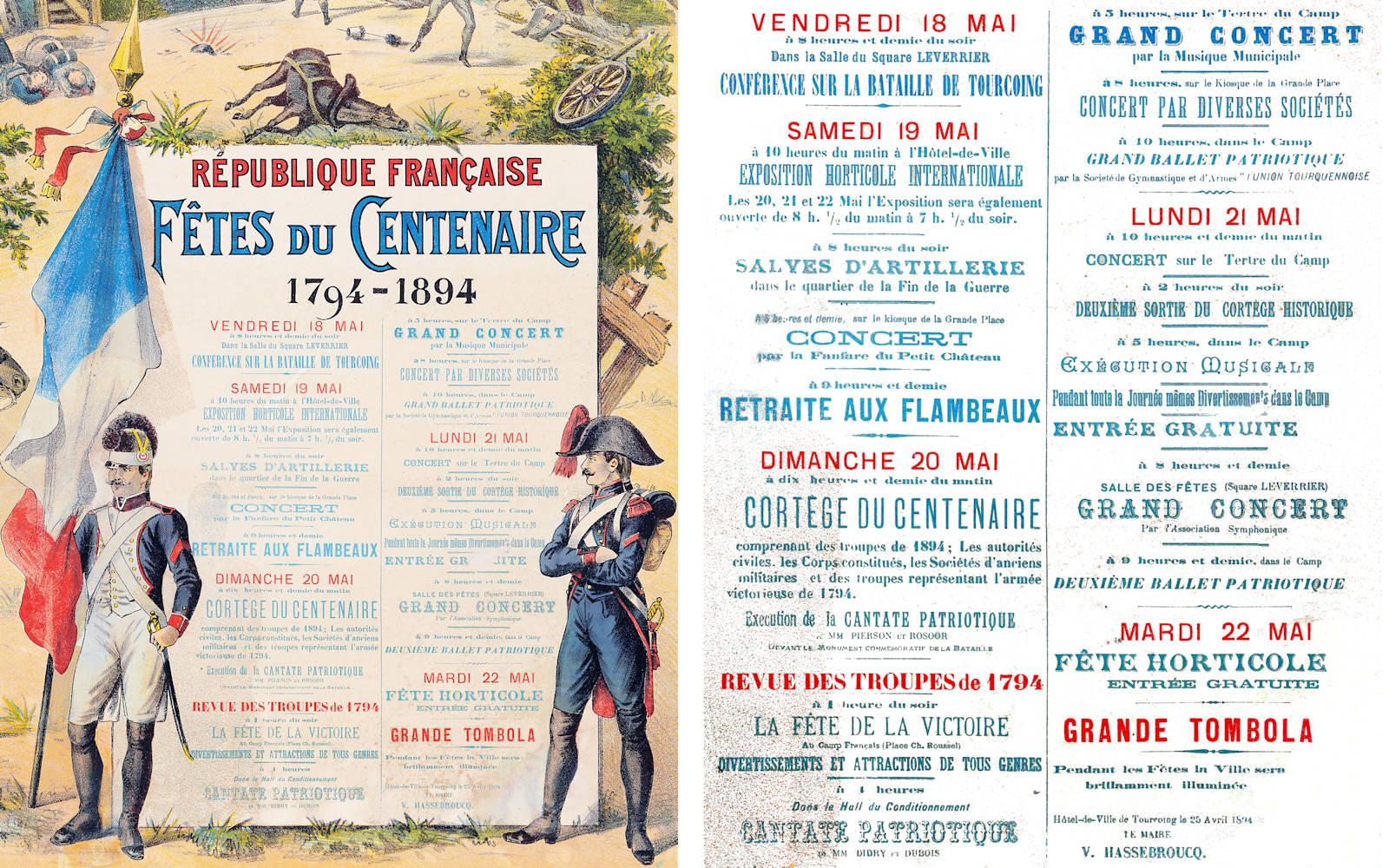 Détail du programme des festivités - Affiche Centenaire de la Bataille de Tourcoing.
