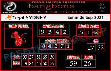 Prediksi Bangbona Sydney Senin 06 September 2021