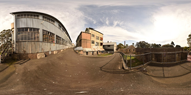 Workshops on upper Cockatoo Island, one of a virtual tour series of High-Fidelity 360° panoramas.