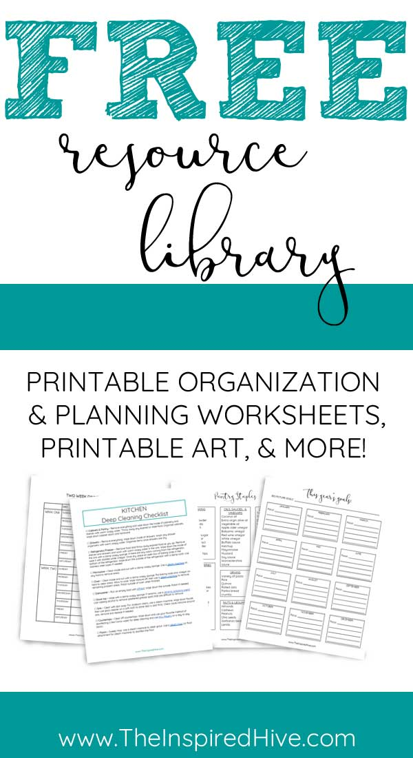 Resource library of free printable art, organization worksheets, and more. Sign up!