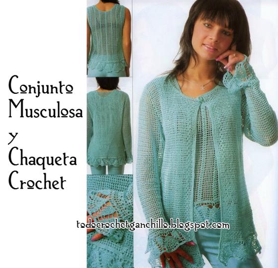 Conjunto crochet remera sin mangas y saco