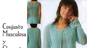 Patrones de conjunto musculosa y chaqueta crochet