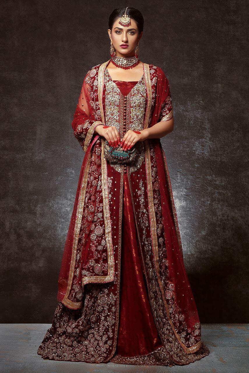 Ayesha Ibrahim Red Bridal Lehenga