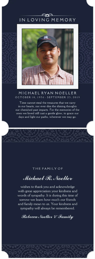 navy blue photo in loving memory sympathy thank you card front and back