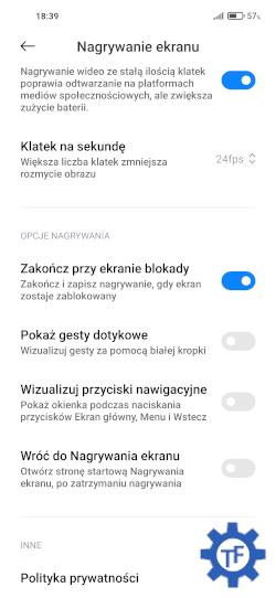 Rejestrowanie ekranu dodatkowe opcje