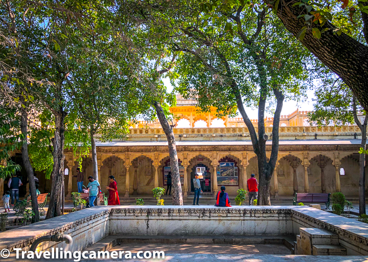 This is also that part of Udaipur Palace where kind used to play holi with queen and other guests. There is an enclosure which was mainly for king & queen to celebrate holi, while the open area you see above was to celebrate holi with guests.