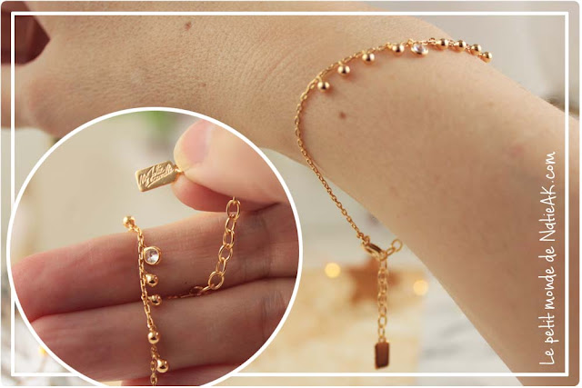 bracelet avec boules dorées et swarovski My Jolie candle