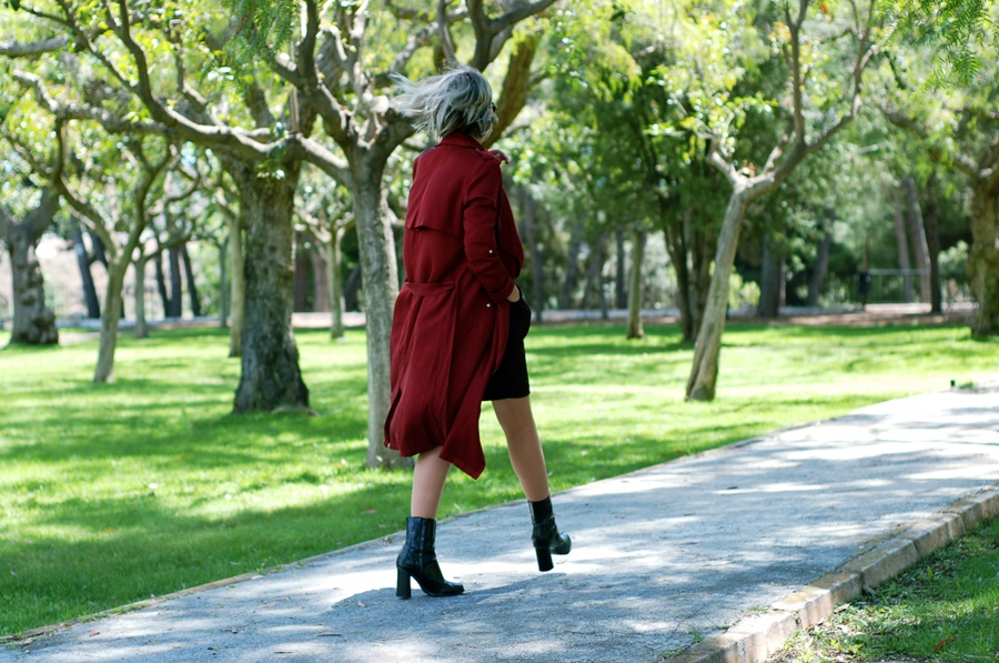 dress and burgundy trench littledreamsbyr working look