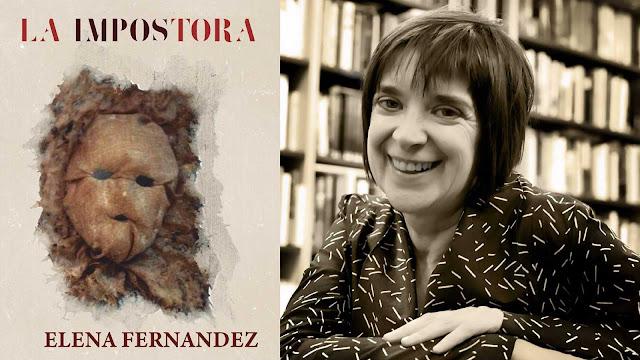 Elena Fernández y la portada de su novela La impostora
