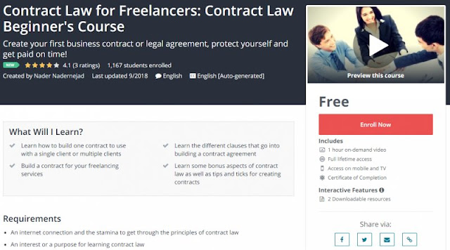 [100% Free] Contract Law for Freelancers: Contract Law Beginner's Course