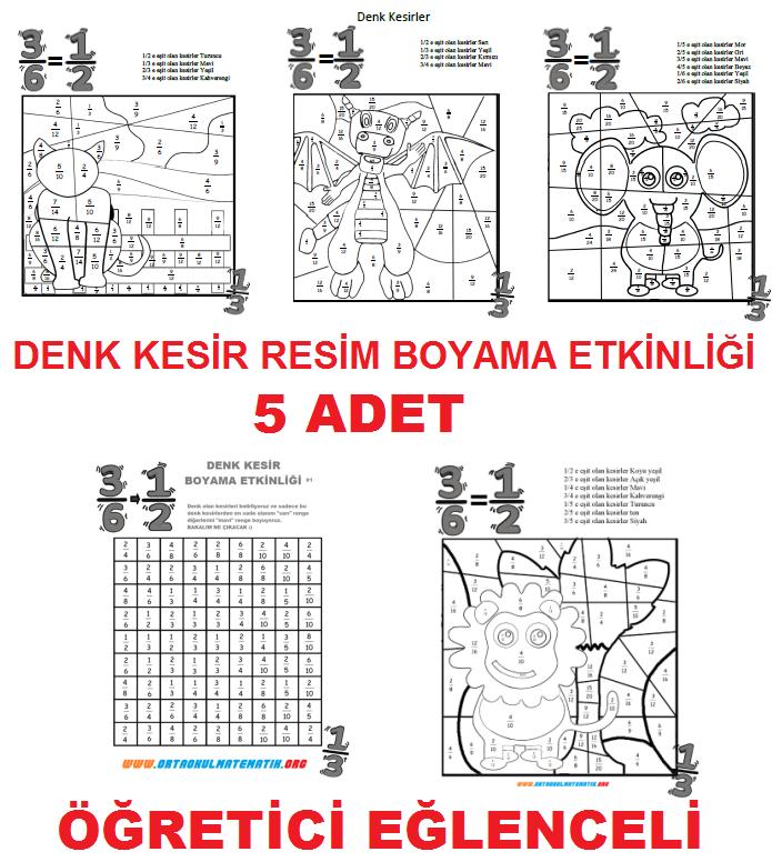 Denemedeneme41 5 Sinif Matematik Denk Kesir Boyama Etkinliği