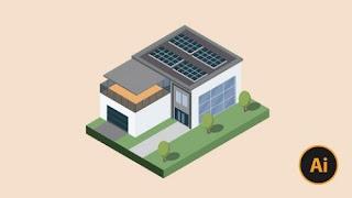3D House Illustration with Adobe Illustrator for beginner