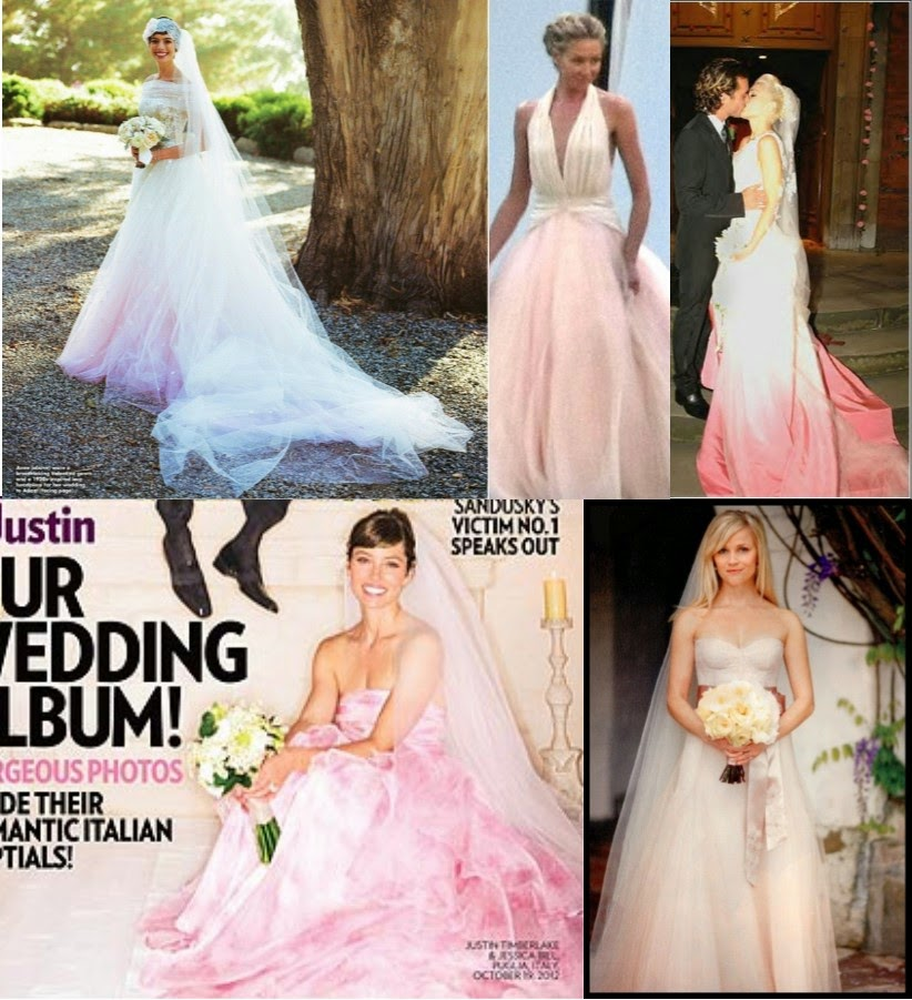 d30c5515112e5 Anne Hathaway, Portia del Rossi, Gwen Stefani (way back in 2008!), Jessica  Biel and Reese Witherspoon are all celebrity brides who donned pink for  their ...