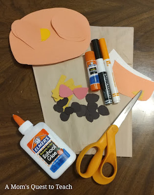 misc craft supplies needed - glue, markers, brown paper bag, scissors, construction paper