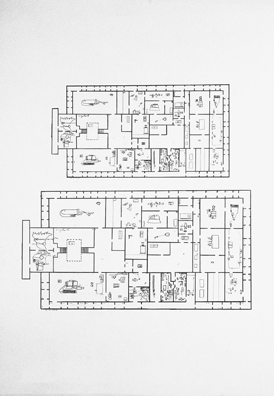 Mark Manders Drawing with Shoe Movement / Two Consecutive Floorplans from Self-portrait as a building, 2002 pencil on paper 109,7 x 79,8 cm