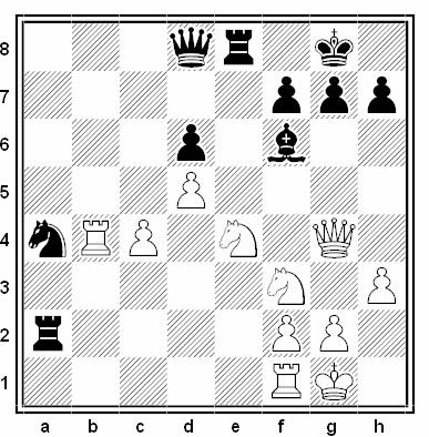 Posición de la partida de ajedrez Mark Hebden - Jean Marc Pichon (VI Open de Cappelle la Grande, 1990)