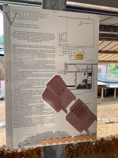 Varignano Roman Villa - Informational sign - about olive pressing at the villa