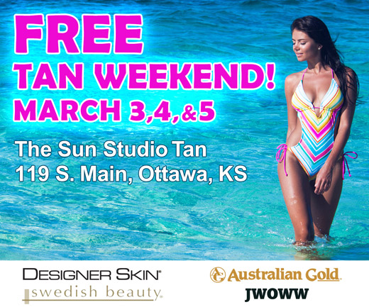 Free Tan Weekend! March 3, 4, & 5 -- The Sun Studio Tan, 119 S. Main, Ottawa, KS (photo of woman in swimsuit standing in ocean)