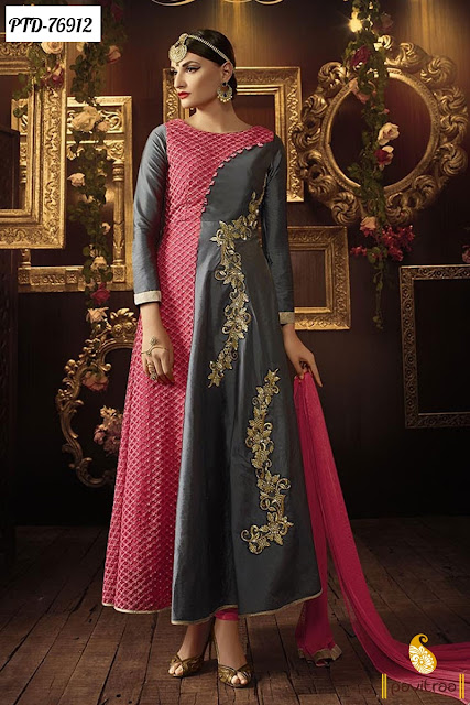 Pink Grey Color Designer Salwar Kameez Online For Eid Celebration