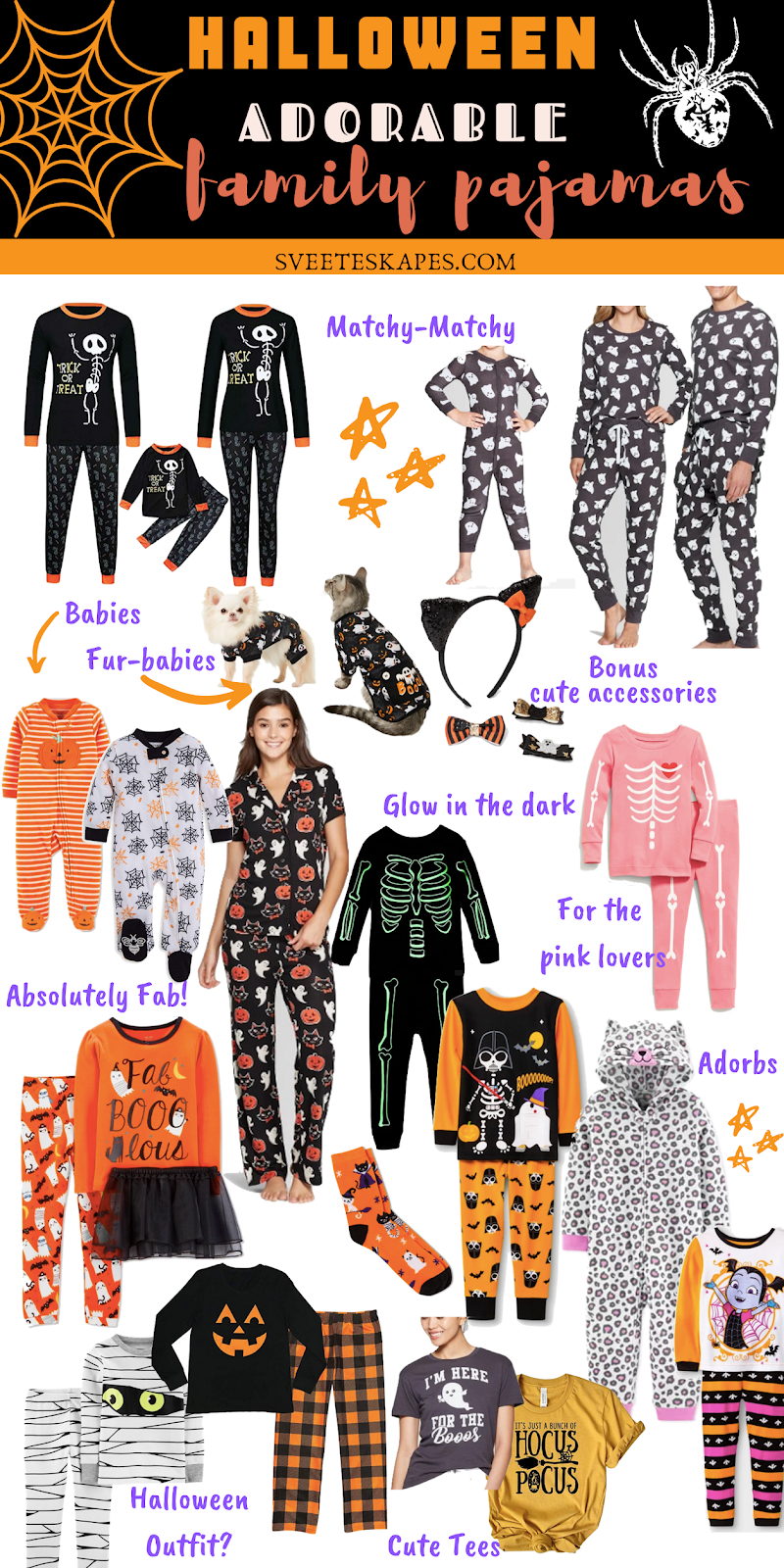 Adorable & Affordable Matching Halloween Pajamas For The Whole Family featured by top US life and style blog, Sveeteskapes