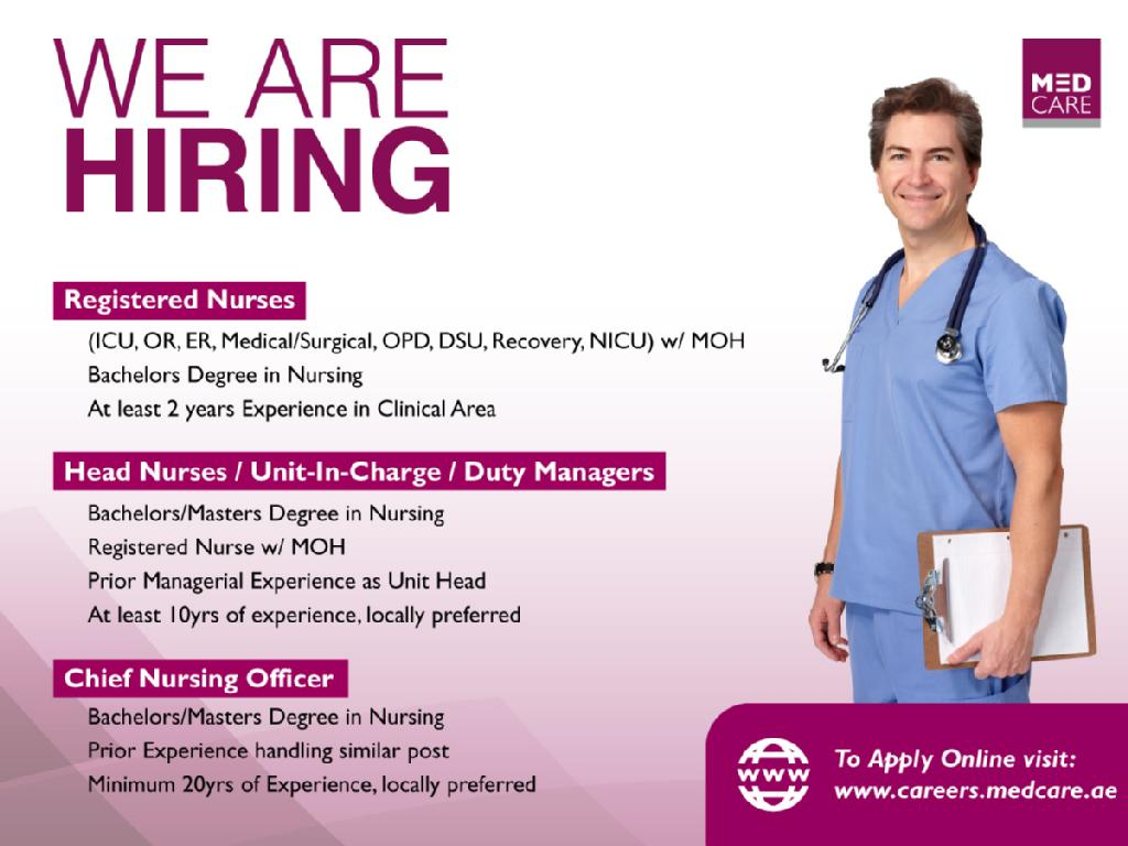 Nurses Jobs Middle East Medcare Hospital King Faisal