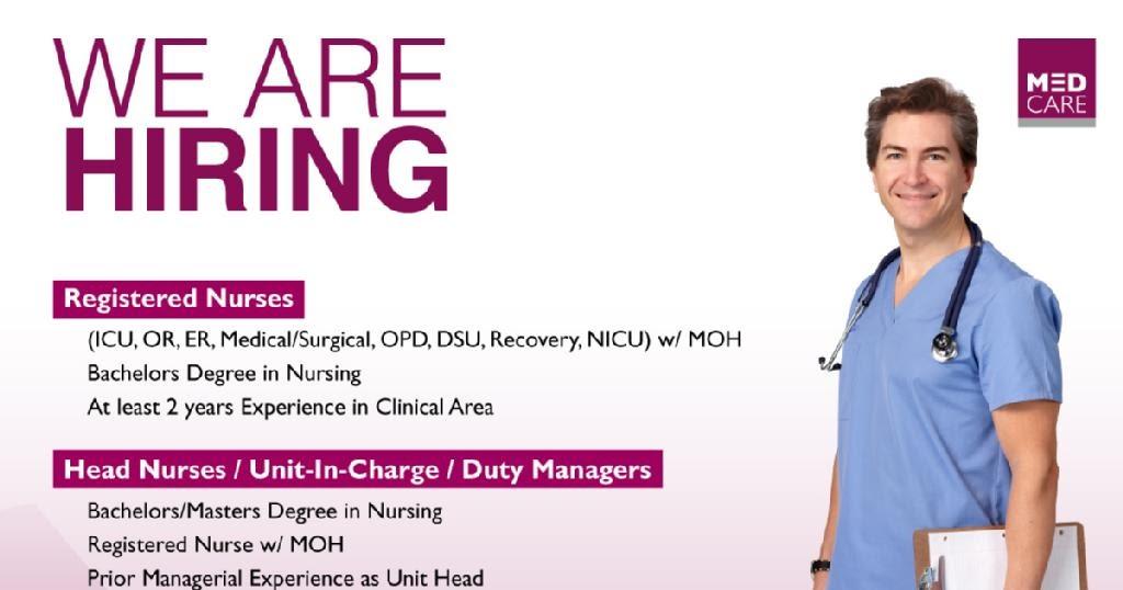Nurses Jobs Middle East Medcare Hospital King Faisal