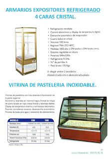Armarios expositores refrigerados, Vitrinas Pasteleras.