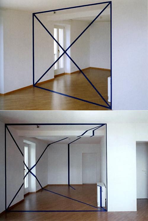 Ev Oda Dekorasyon Göz Yanılması Anamorfik Çizgi