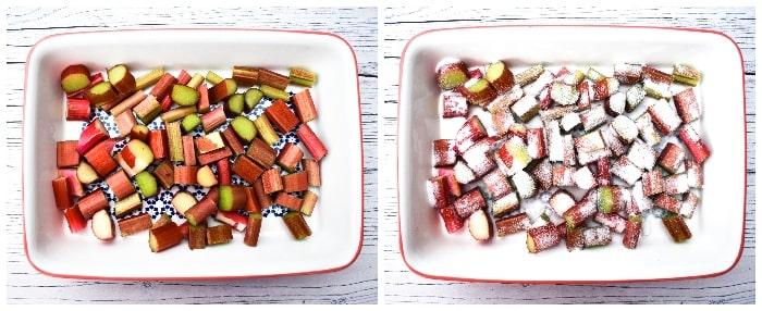 Roasting rhubarb with sugar in an ovenproof dish