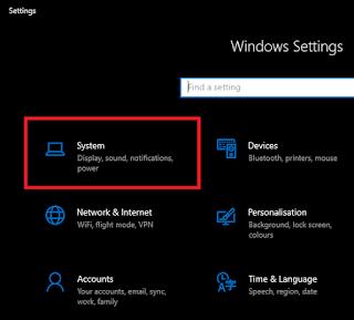 Menu System Windows 10