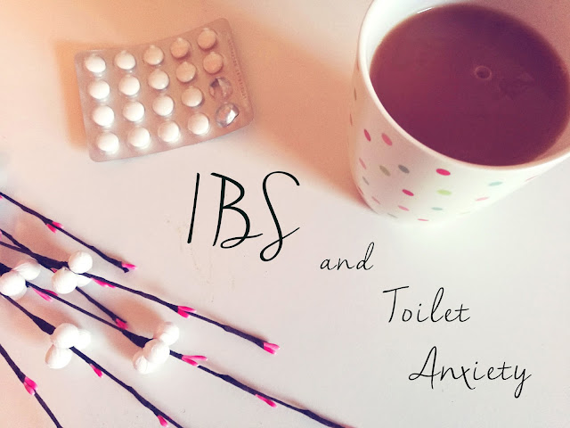 "A image of a cup of tea and some tablets with writing ""IBS and Toilet Anxiety"""