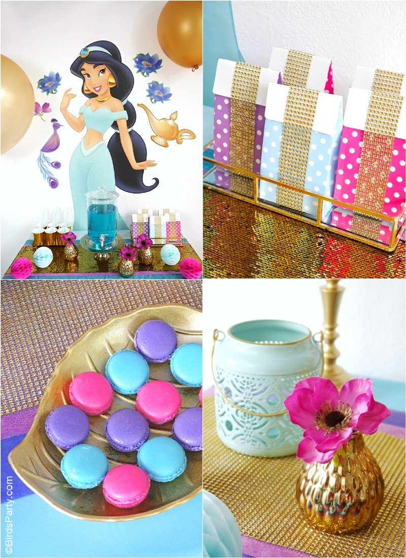 Princess Jasmine Birthday Party Ideas - DIY decorations, desserts table ideas, party favors, printables and more on this Aladdin inspired party theme! by BirdsParty.com @birdsparty #aladdin #aladdinparty #aladdinbirthday #princessjasmine #princessjasmineparty #princessjasminebirthday